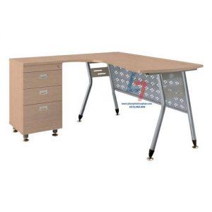 Bàn nhân viên HR L1450C1Y1 khung thép mặt bàn lượn gỗ Melamine vân sần dầy 25mm, chân sắt Φ38 sơn ánh bạc kết hợp với yếm tôn.