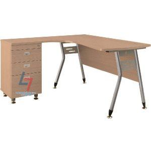 Bàn nhân viên HR L1450C1 khung thép mặt bàn lượn gỗ Melamine vân sần dầy 25mm, chân sắt Φ38 sơn ánh bạc kết hợp với yếm gỗ 18mm.